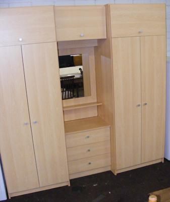 Beech coloured wardrobe set with middle section