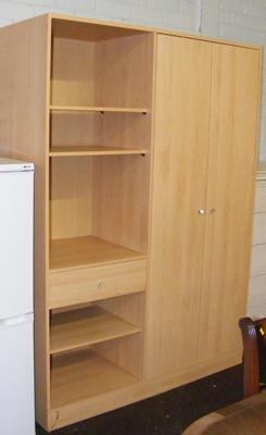 Beech coloured wardrobe with storage
