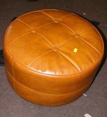 Vintage leather footstool/ pouffe