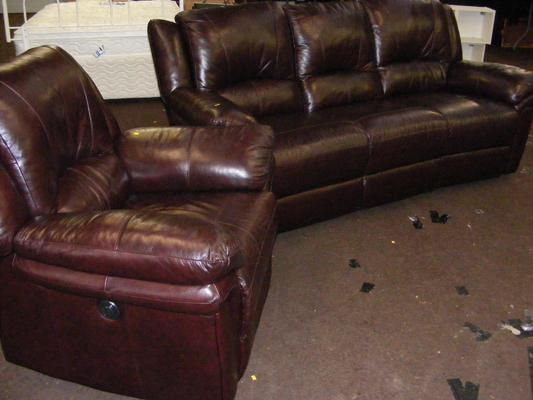 Brown leather three piece reclining sofa and matching electric reclining armchair