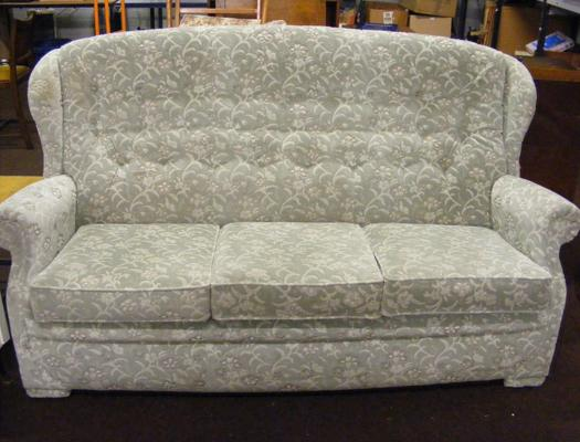 Green floral 3 seater sofa
