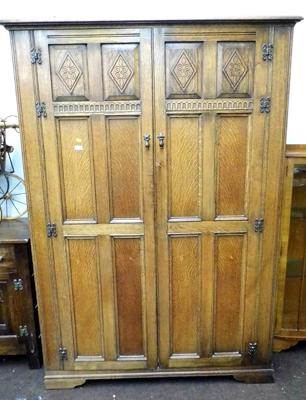 Oak carved fronted double wardrobe