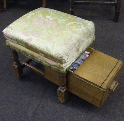 Vintage sewing stool and contents