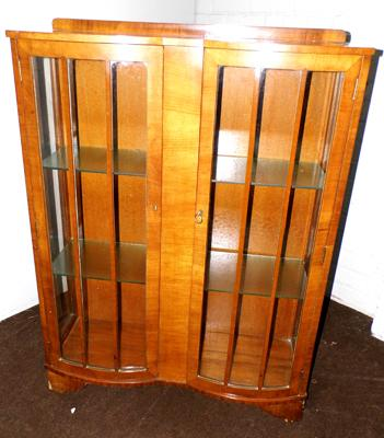 Wooden bow fronted display cabinet