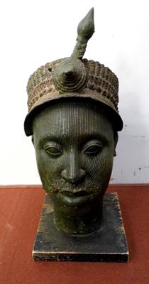 Carved terracotta tribal head-some damage