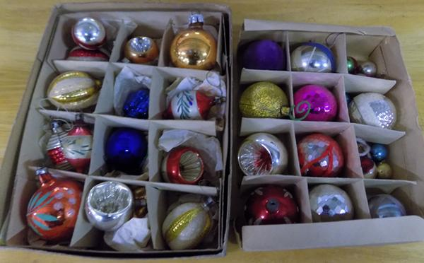 Selection of vintage Christmas baubles