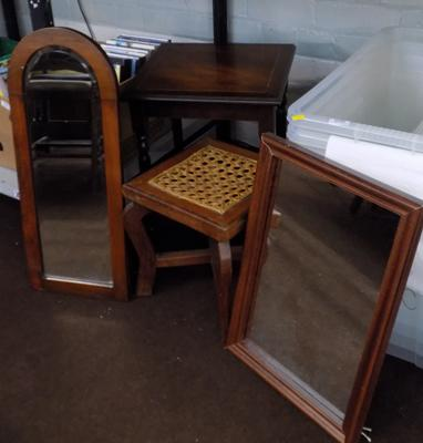 2x Framed mirrors (one vintage) + 2x occasional tables