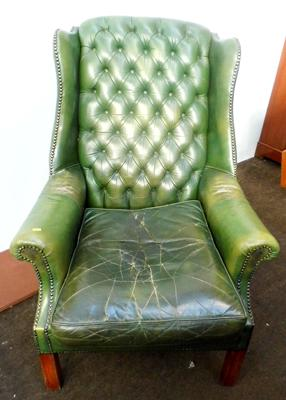Green leather chair - needs attention