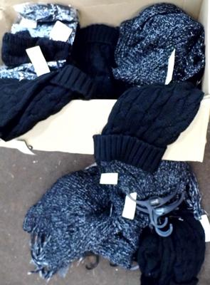 Large box of new winter hats, scarves and head bands