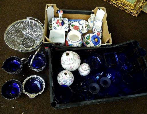 Box of cobalt blue glassware and others