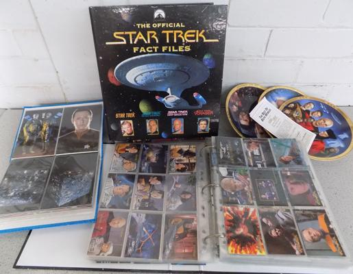 Between 1200-1500 Star Trek collectable cards and 3 plates - 2 with certificates