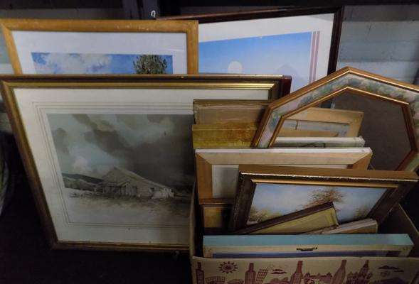 Large collection of framed poters, prints and mirrors