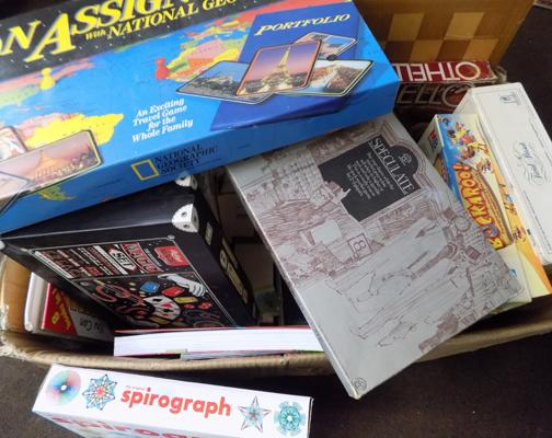 Box of vintage games and toys - large quantity
