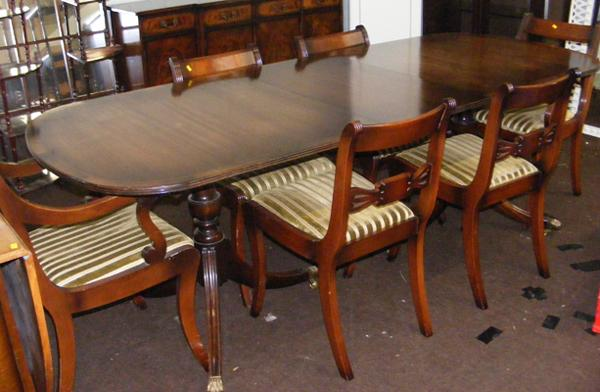 Large inlaid extending table and 6 chairs