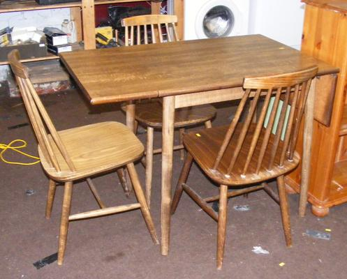 Vintage drop leaf table and 3 Ercol style chairs - as seem