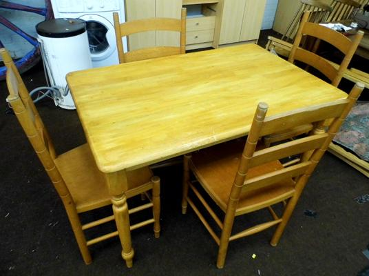 "Rectangular pine table - 48"" x 30"" and 4 chairs"