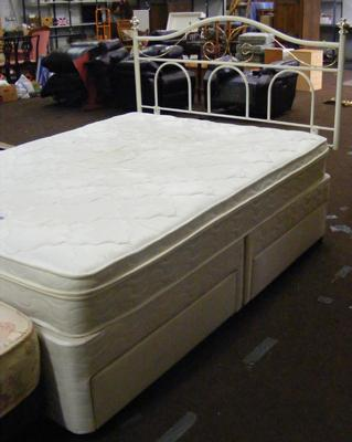 Four drawer divan double bed and headboard