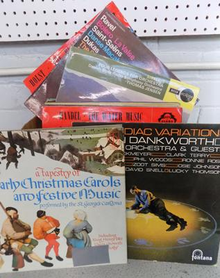 Box of vinyl LP's incl,. jazz, Great Conductors, Christmas carols/ choirs etc.
