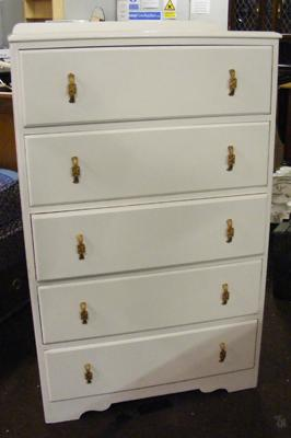 Set of white painted drawers - 5 drawers
