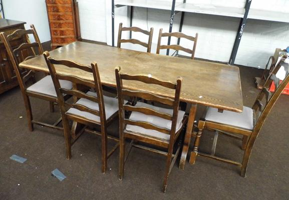 Large oak table & 6 chairs