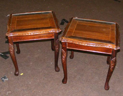 2x Glass topped occasional tables