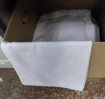 Box of mixed 2' to 6' round & rectangular tablecloths