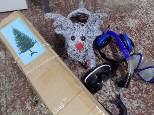 Selection of Christmas decorations & scuba diving equipment