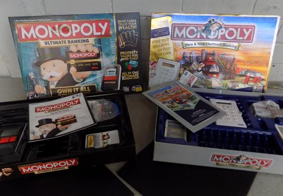2x Monopoly board games - Ultimate Banking and Electronic banking - both complete