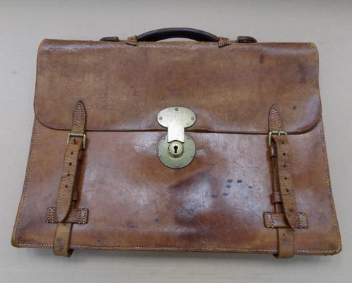 1930's leather satchel from Berlin, Germany - Azber Rosehain, name inside, great condition