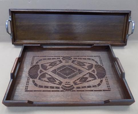 2x Vintage wooden trays