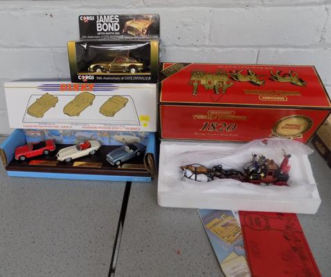 3x Model cars incl. Models of Yesteryear, James Bond Goldfinger and Dinky classic British sports cars