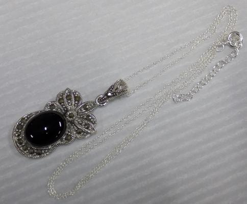 Silver Jet and Marcasite pendant on silver chain