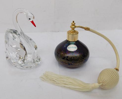 Royal Brierley art glass atomiser and cut glass swan - all no damage