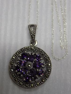 Silver Amethyst and Marcasite pendant on silver chain