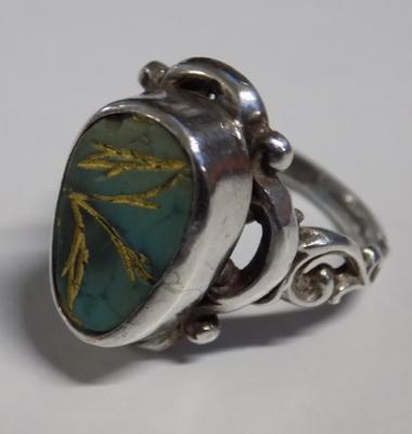Unique handcrafted silver & gemstone ring in leatherette box