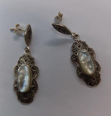 Pair of silver Pearl and Marcasite earrings