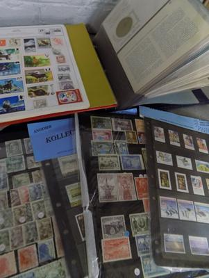 Collection of stamps/album & coin stamp album
