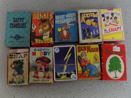 Collection of 10 packs of vintage 1950's playing cards