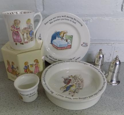 Wedgwood Peter Rabbit plate, egg cup, dish with Queen's beaker and EPNS salt and pepper pots