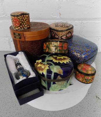 Collection of decorative boxes & glass bottle stopper