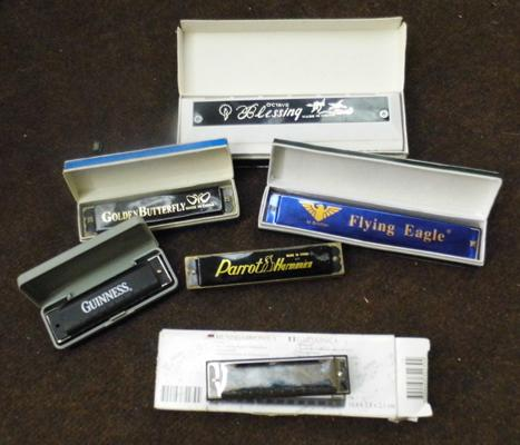 Collection of 6 assorted harmonicas