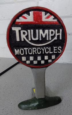 Cast iron Triumph motorcycles sign