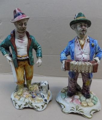 Pair of Capodimonte figures approx 10 inches tall. The Gamekeeper & hand + The Accordion Player