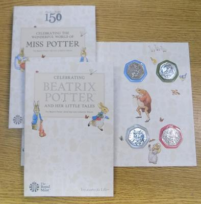 Full set of Beatrix Potter 50p's - Royal Mint collector cases