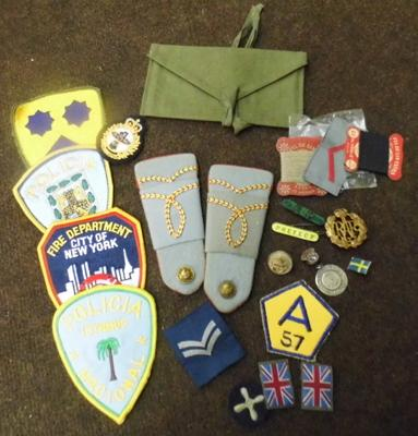 Selection of assorted pin badges, cloth badges inc military etc