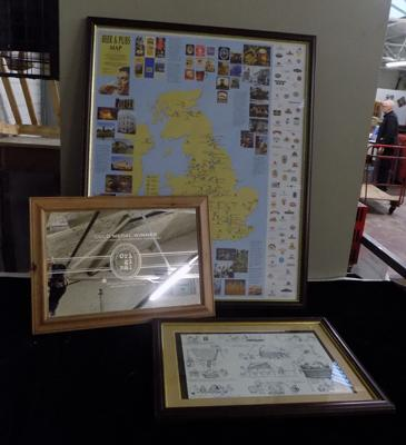 "Brewery related picture approx 21x16.5"", engraved mirror approx 21x15"", framed beer & pubs map of England approx 29x35.5"""