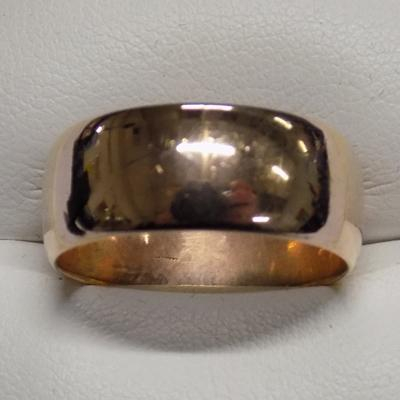 Heavy 9ct rose gold ring 8mm wide plain band - size U