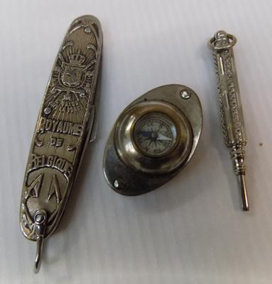 Vintage propelling pencil, penknife and a compass