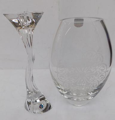 "Dartington crystal 9"" Opus vase with engraved patterns and Nachtmann (no damage) 'Marcaurel' candlestick"