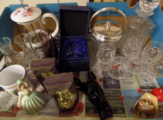 Selection of glass and ornaments incl. crystal biscuit barrel, decanter, sherry glasses, Caitness vase, gold plated hanging Deer heads etc.